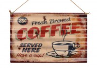 Coffee Served Here XXL origineel golfplaat metalen bord