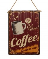 Get More Coffee 5 ct metalen reclamebord