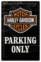 Harley Davidson Logo Parking Only metalenbord 40x60 cm