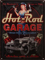 Hot Rod Garage XL gebold 3D metalenbord