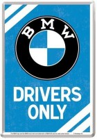 BMW Drivers Only postcard metaal