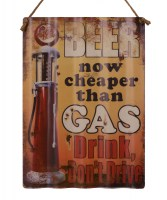Beer Now Cheaper Than Gas XL origineel golfplaat metalen bord