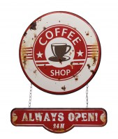Coffee Shop Always Open dubbel metalenbord