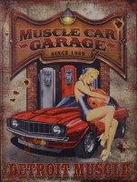 Muscle Car Garage Pin Up metalen reclamebord
