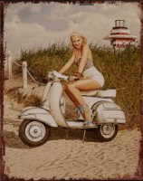 Pin Up Scooter Beach metalenbord