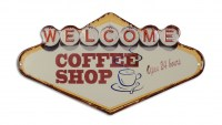 Welcome Coffee Shop XL 3D metalenbord